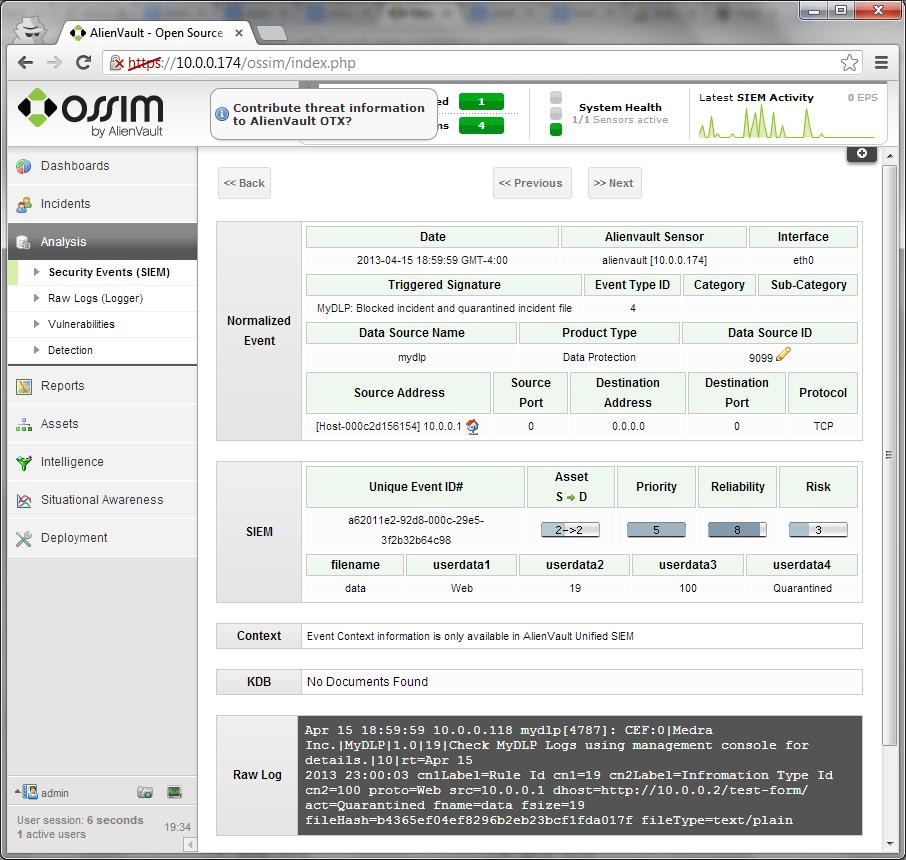alienvault ossim integration screenshot